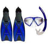 Kit Triplo Mergulho Máscara + Snorkel + Nadadeira Azul Ray