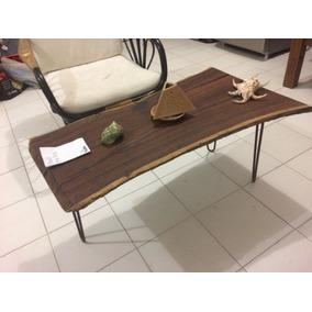 Mesa De Centro Rustica Con Resina (madera Jabin)