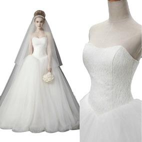 Vestido De Noiva Renda Tomara Que Caia Com Veu, Saiote, Luva