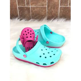 Zapatos Crocs Retro Celeste Fuccia
