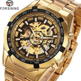 Relógio Esqueleto Mecânico Automático Relógio De Ouro
