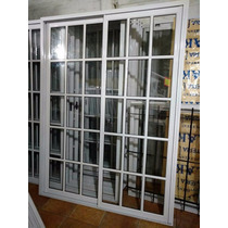 Puerta Balcon Aluminio 150x200 Vidrio Repartido+ Reja + Mosq