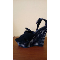 Zapatos Americano En Cuña Negro Con Perchas