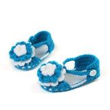 Sapato Sandalia Menina Azul Royal E Branco Trico Lâ