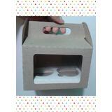 Caja Cajita Feliz Con Visor Y Base 2 Cupcake Empaque Cartón