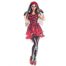 Disfraz Mujer Catrina Dia De Muertos Calavera Halloween