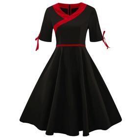 Zaful Hepburn Mandarín Collar Diseño Corsé Retro Vestido