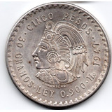 Moneda Mexicana Plata Cinco Pesos Cuauhmtemoc 1947 P10