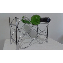 Adega Suporte Vinhos Bebidas Aço Cromado Porta 6 Garrafas