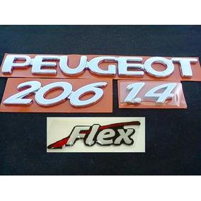 Emblemas Cromado Para Peugeot 206 1.4 Flex (kit Com 4 Peças)