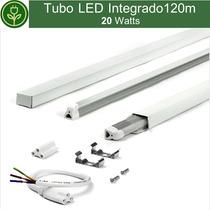 Tubo Led 20w 1.20m 4ft 120cm Con Base Y Accesorios