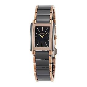 Rado Womens Gold Tone Steel Ceramic Bracelet & Case Swiss Qu