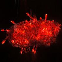 Serie Navideña De 100 Luces Led, Luz Roja 10 Metros