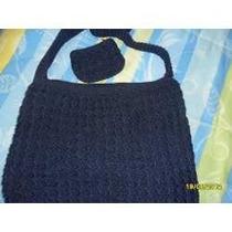 No Ilusion Bolsa Tejida A Mano Con Modero Color Azul Marino