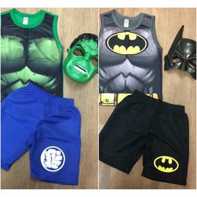 Roupa Infantil Batman Ou Hulk - Com Máscara