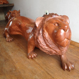 Escultura De Leão Em Madeira -1,5m - Arte Em Madeira