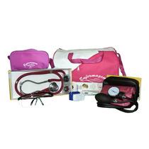 Kit Enfermagem Completo Bolsa Pink E Aparelho Vinho