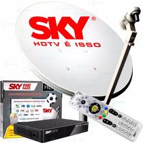 Kit Antena Sky 60cm + Receptor Digital Sky Pré Pago Flex Hd