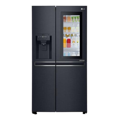 Heladera inverter no frost LG GC-X247CKBV matte black steel con freezer 601L 220V