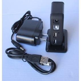 Hub 7 Puertos Hi-speed Usb 2.0 Hub +alimentación 220v Negro