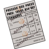 Adesivo Pressão Pneus 185/65 R14 86t Monza Gls Kadett Gs Gsi