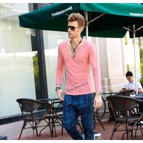 Camisa Masculina Manga Longa Gola Em V Blusa Em Viscolycra