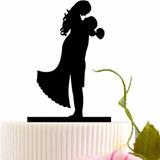 Topo De Bolo Acrílico Preto Casamento Noivado - Casal 4b