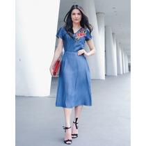 Vestido Jeans Midi Moda Evangélica
