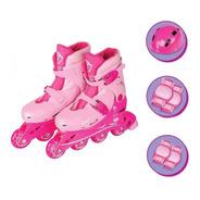 Kit Patins Infantil Feminino Roller 4 Rodas Proteção Rosa