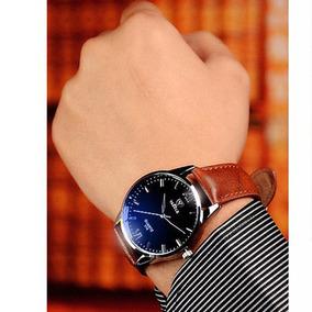 Relógios Yazole Pulseira De Couro Dourado Masculino Oferta 2