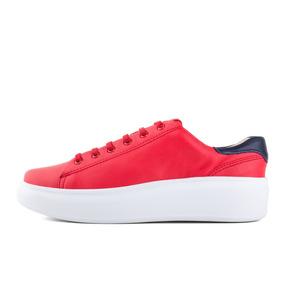 Sneaker Boating Acordonado Bari Rojo Cuero Mujer