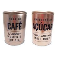 Kit 2 Latas Porta Condimentos  Café Açúcar Rosê Pequeno