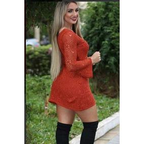 Vestido Curto Manga Longa Flare Tricot Renda Moda Feminina