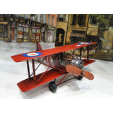 Avioneta Doble Ala De Chapa Réplica Antiguos Decorativos