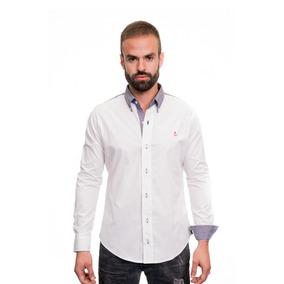 Camisa La C Blanca Hombros Y Panche En Codo Gris Slim Fit.