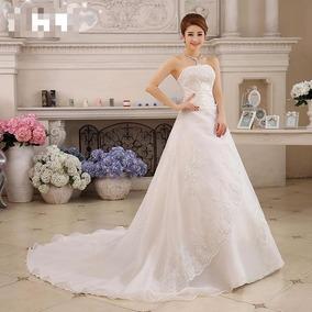 Vestido Novia Princesa Strapless M Transversal Tira Ivory F