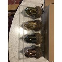 Caja Con 4 Esferas De Cristal En Forma De Bellota, Color Oro