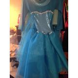 Hermoso Vestido Elsa Frozen Con Capa, Corona Zapatos Peluca