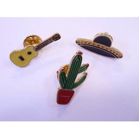 3 Pin Metalicos Sombrero, Cactus, Guitarra Mexicanos Recuerd