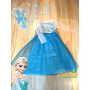 Vestido Da Elsa Fantasia Festa Frozen Infantil Lindo Azul