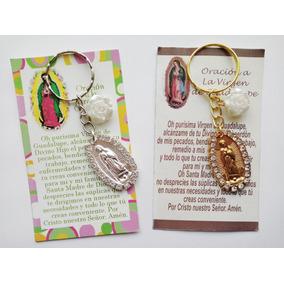 Paq 50 Llavero Virgen Guadalupe Piedrita Y Flor Envío Gratis