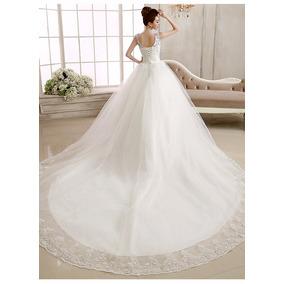 Vl14 Vestido De Noiva Lindo Com Cauda E Pedras Importado