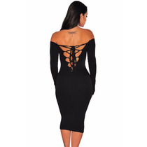 Vestido Sexy Strapless Negro Con Mangas Agujetas Tipo Corset