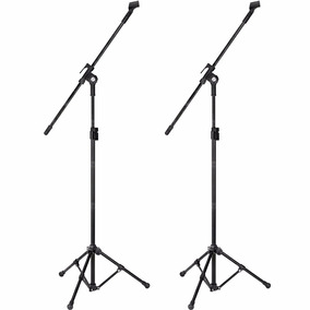 Kit 2 Pedestal P/ Microfone Suporte Girafa Tripe + Cachimbos
