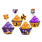 Saia Cupcake C/ Enfeite Halloween Disney