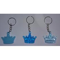 100 Mini Coroa Azul Acrílico Chaveiro Lembrancinha Menino