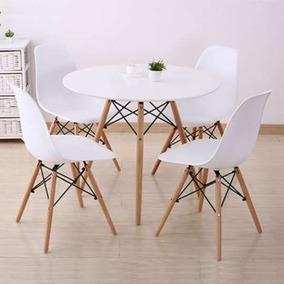 Kit Jogo Mesa 120cm Redonda Eiffel + 4 Cadeiras Eames