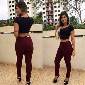 Calça Moda Feminina Jeans Vinho Estilo Pitbull Bordô C/lycra