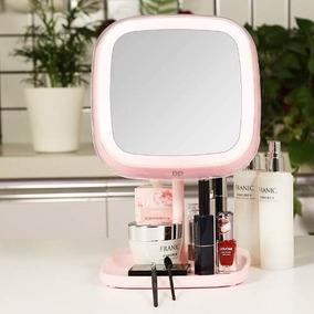 Espelho De Maquiagem Hd Led 360º Lupa 1x E 10x Luminária Imã