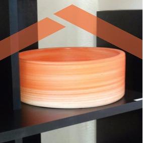 Bacha De Apoyo Para Baño Redonda Color Naranja